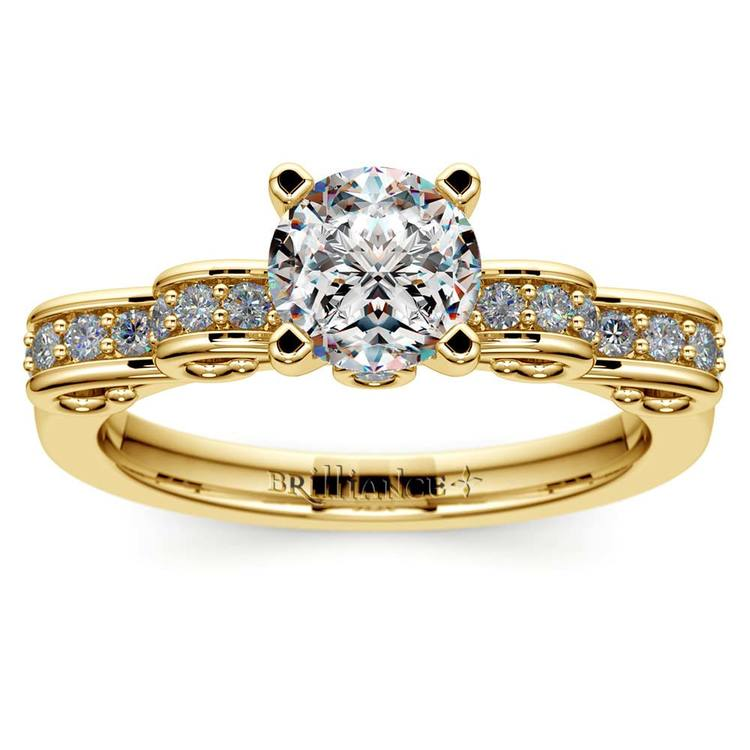 Cinderella Ribbon Diamond Engagement Ring in Yellow Gold | 01