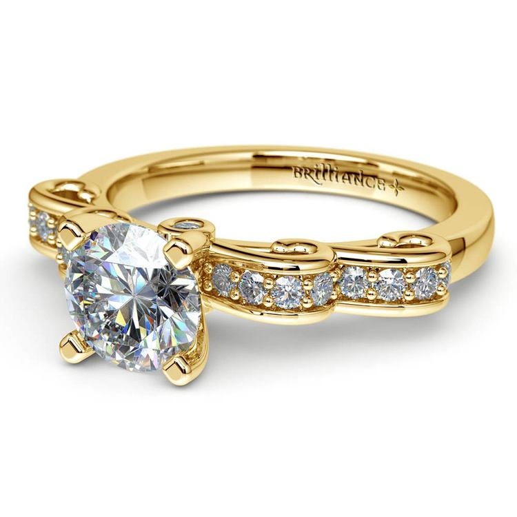 Cinderella Ribbon Diamond Engagement Ring in Yellow Gold | 04