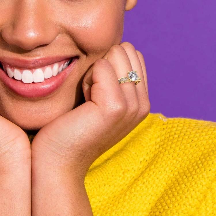 Cinderella Ribbon Diamond Engagement Ring in Yellow Gold   06