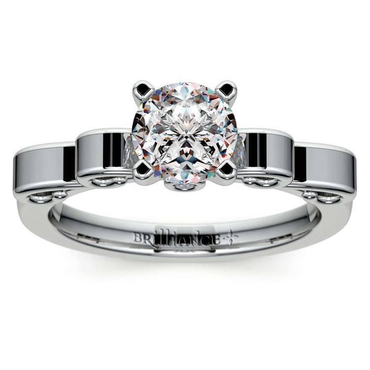 Cinderella Ribbon Solitaire Engagement Ring in Platinum | 01