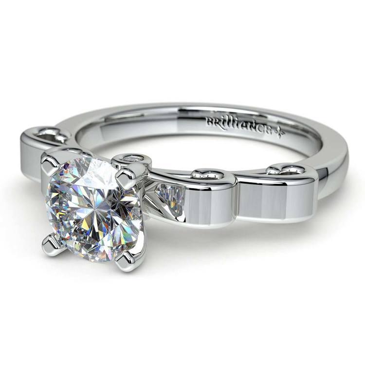 Cinderella Ribbon Solitaire Engagement Ring in Platinum | 04