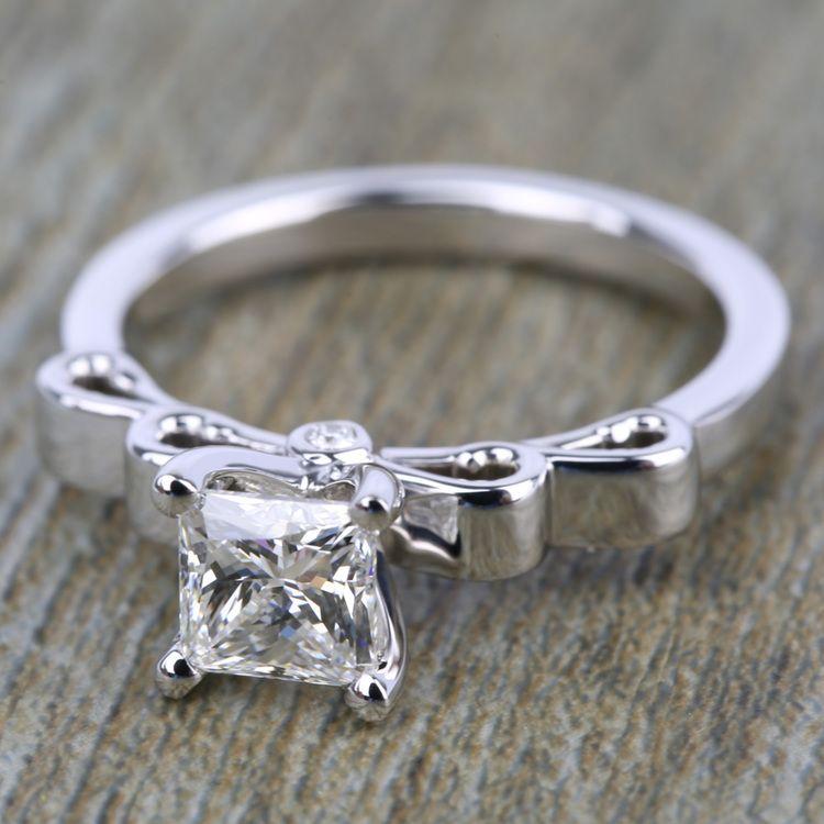 Cinderella Ribbon Solitaire Engagement Ring in Platinum | 05