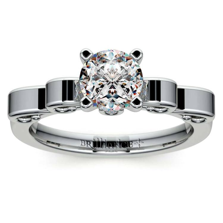 Cinderella Ribbon Solitaire Engagement Ring in White Gold | 01