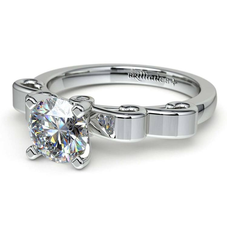 Cinderella Ribbon Solitaire Engagement Ring in White Gold | 04