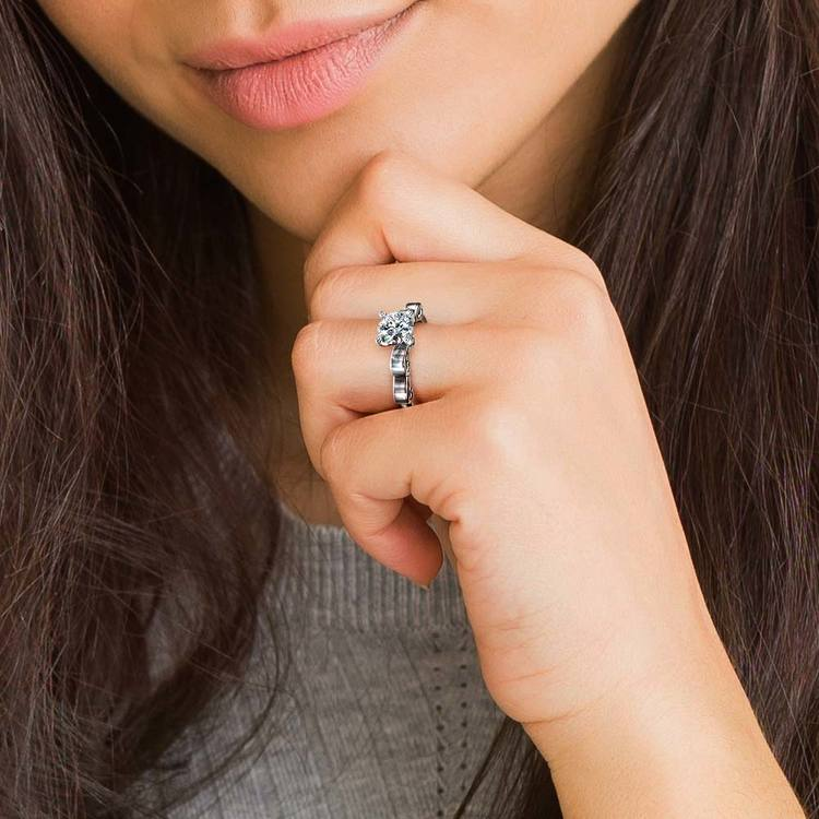 Cinderella Ribbon Solitaire Engagement Ring in White Gold   07