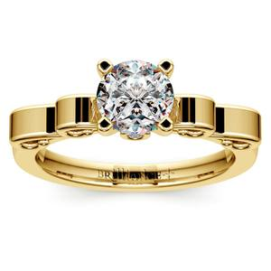 Cinderella Ribbon Solitaire Engagement Ring in Yellow Gold