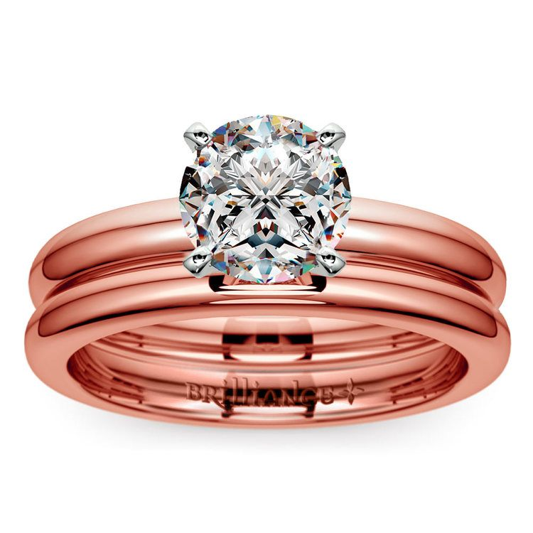 Classic Comfort Fit Diamond Bridal Set in Rose Gold | 01