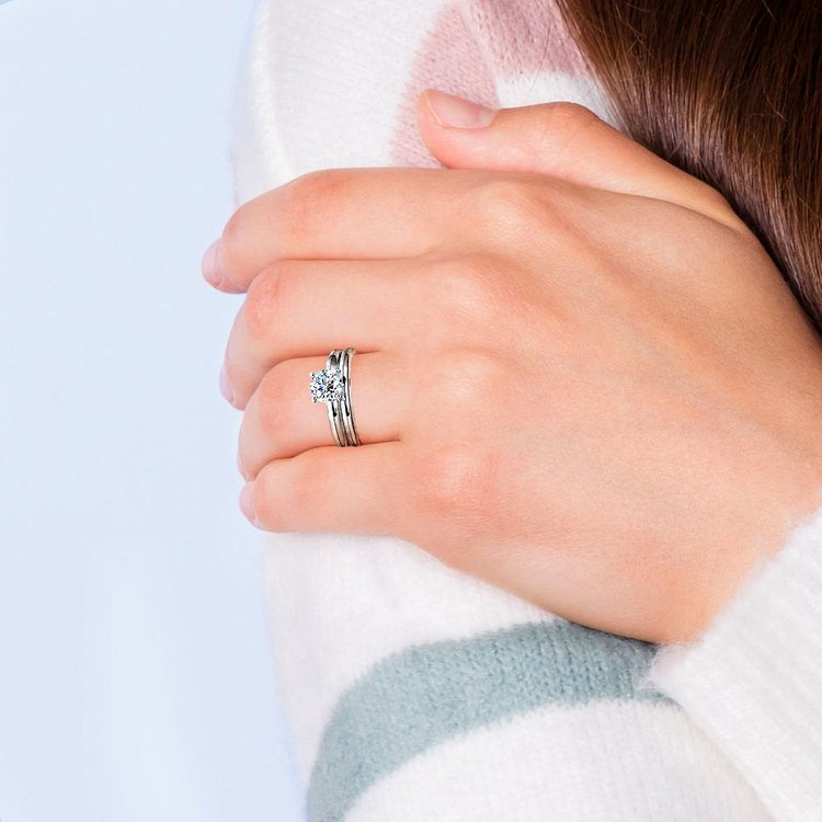 Classic Comfort Fit Diamond Bridal Set in White Gold   07
