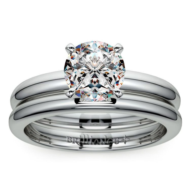 Classic Comfort Fit Diamond Bridal Set in White Gold   01
