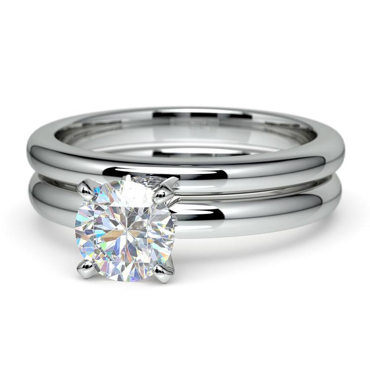 Classic Comfort Fit Diamond Bridal Set in White Gold   04