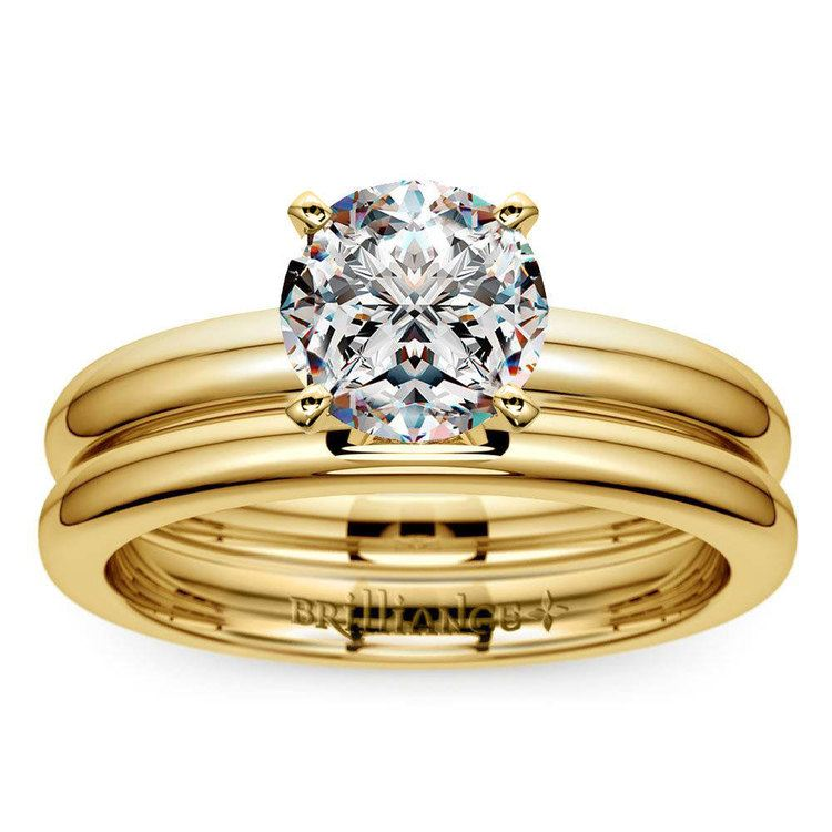 Classic Comfort Fit Diamond Bridal Set in Yellow Gold   01