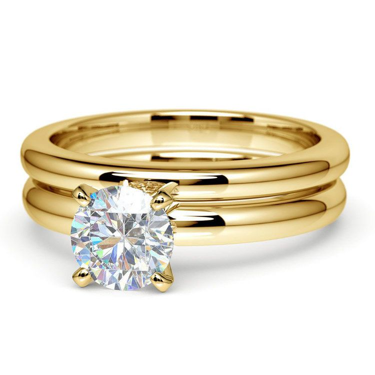 Classic Comfort Fit Diamond Bridal Set in Yellow Gold   04