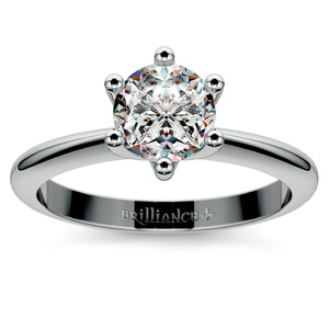 Classic Six Prong Solitaire Engagement Ring in Palladium