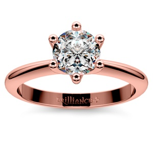 classic six prong solitaire engagement ring in rose gold - Wedding Rings Rose Gold