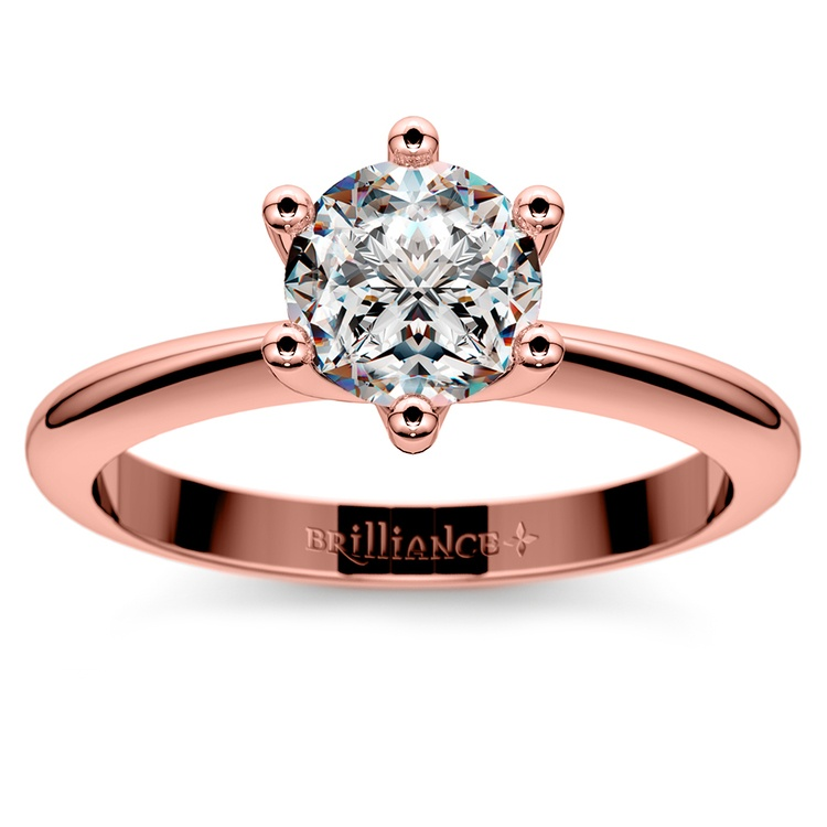 Classic Six Prong Solitaire Engagement Ring in Rose Gold | 01