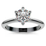 Classic Six Prong Solitaire Engagement Ring in White Gold | Thumbnail 01
