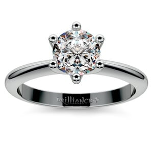 Classic Six Prong Solitaire Engagement Ring in White Gold