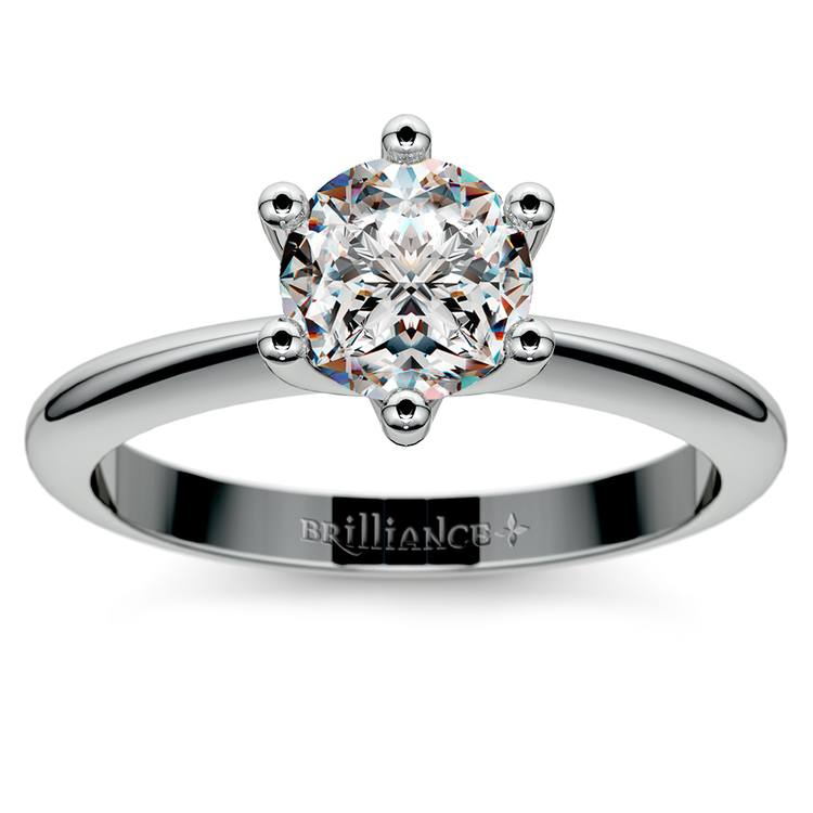 Classic Six Prong Solitaire Engagement Ring in White Gold | 01