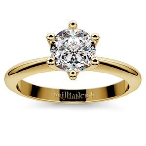 Classic Six Prong Solitaire Engagement Ring in Yellow Gold