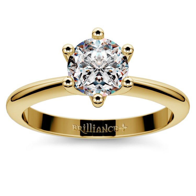 Classic Six Prong Solitaire Engagement Ring in Yellow Gold | 01