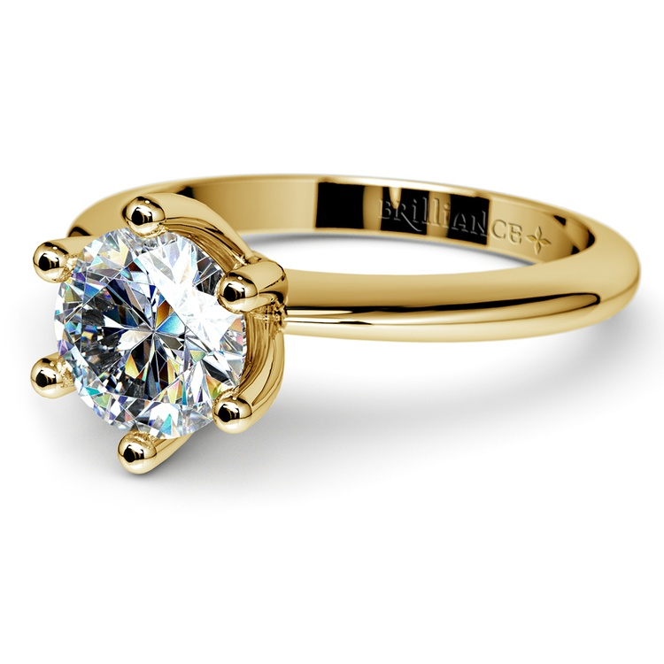 Classic Six Prong Solitaire Engagement Ring in Yellow Gold | 04