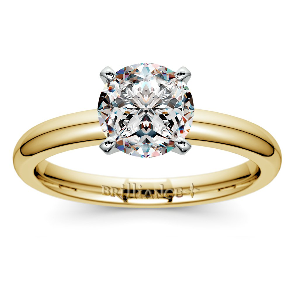 classic solitaire engagement ring in yellow gold - Wedding Rings Yellow Gold