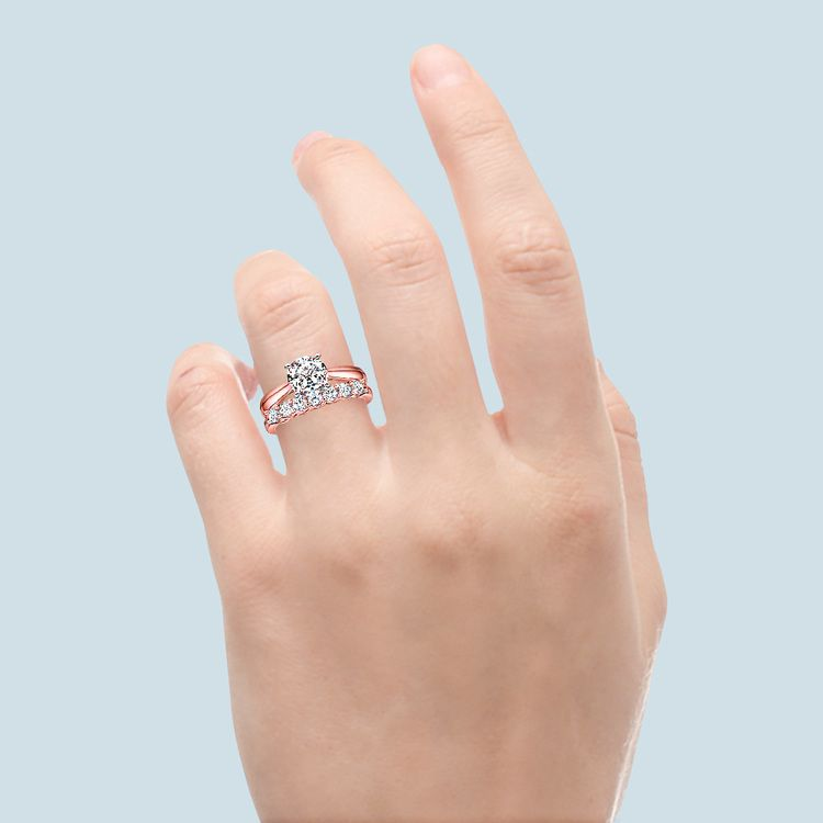 Classic Solitaire and Seven Diamond Bridal Set in Rose Gold | 06