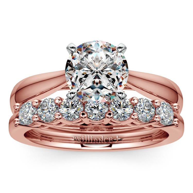 Classic Solitaire and Seven Diamond Bridal Set in Rose Gold | 01