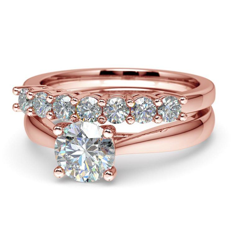 Classic Solitaire and Seven Diamond Bridal Set in Rose Gold | 04