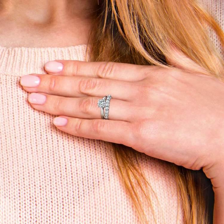 Classic Solitaire & Seven Diamond Bridal Set in White Gold | 07