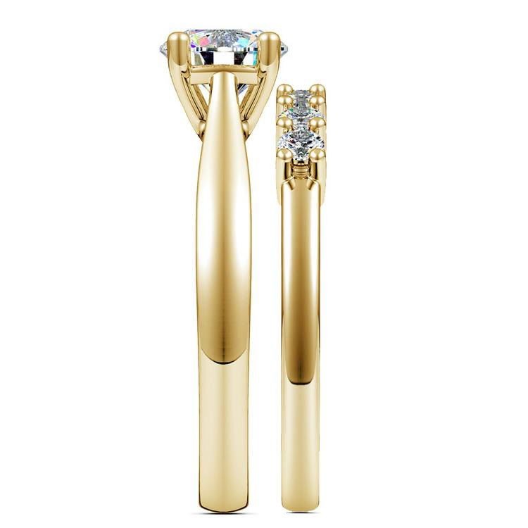 Classic Solitaire & Seven Diamond Bridal Set in Yellow Gold | 03