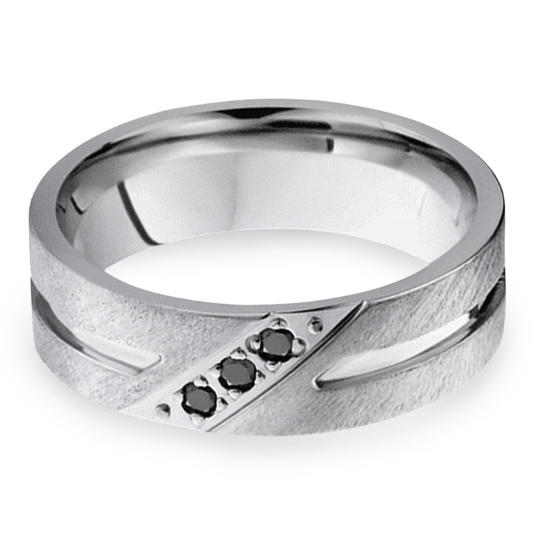 Cobalt Diamond Men's Engagement Ring With Black Diamonds | 01
