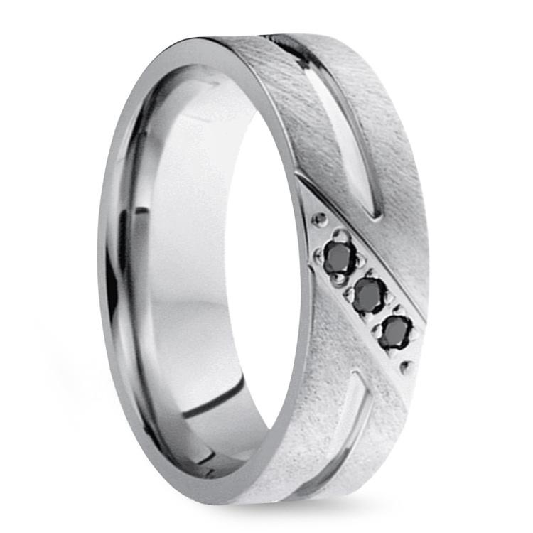 Cobalt Diamond Men's Engagement Ring With Black Diamonds | 02