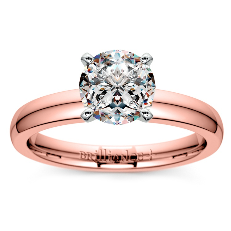 Comfort-Fit Solitaire Engagement Ring in Rose Gold (3mm)  | 01