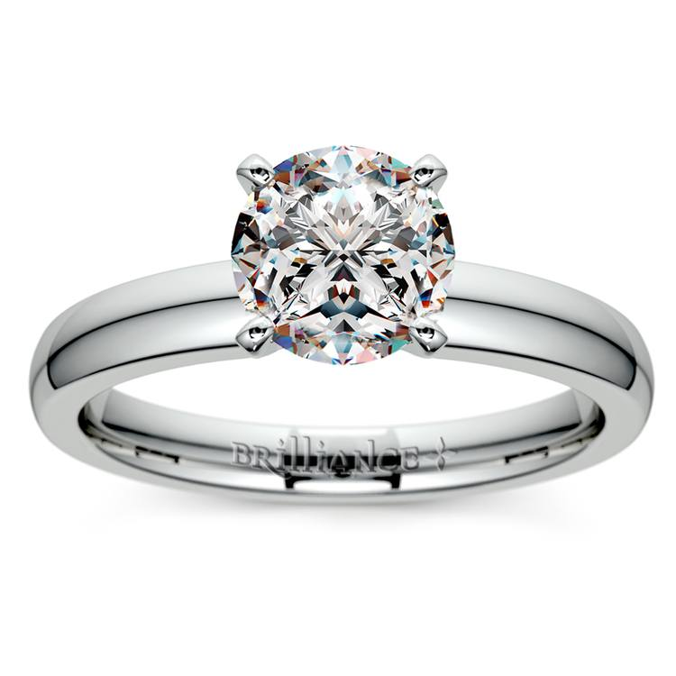 Comfort-Fit Solitaire Engagement Ring in White Gold (3mm)  | 01