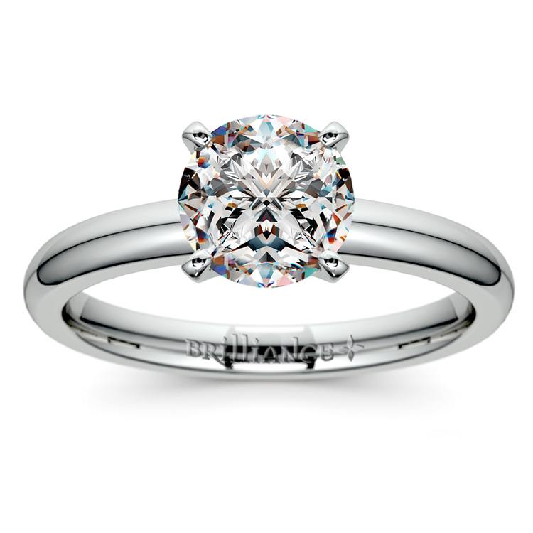 Comfort-Fit Solitaire Engagement Ring in White Gold (2mm) | 01