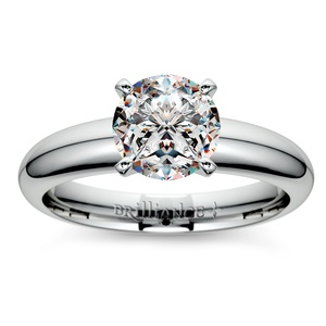 Comfort-Fit Solitaire Engagement Ring in White Gold (4mm)