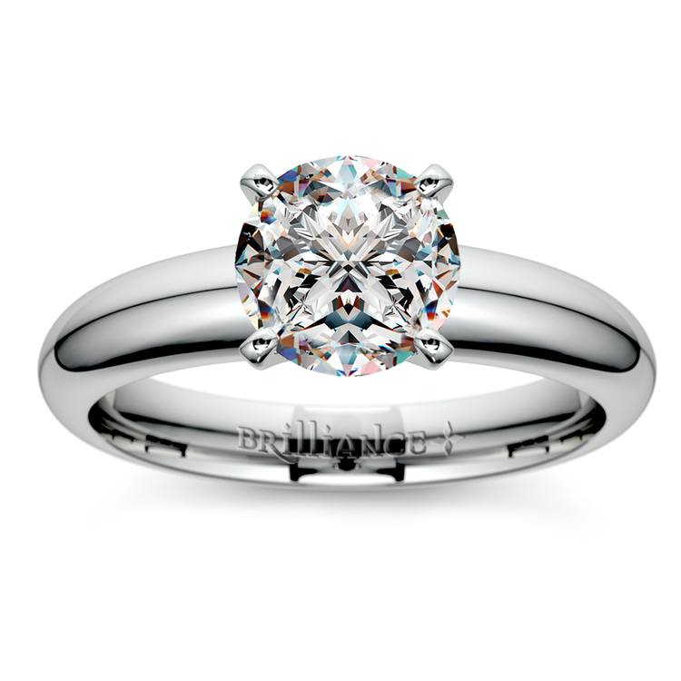 Comfort-Fit Solitaire Engagement Ring in White Gold (4mm)  | 01