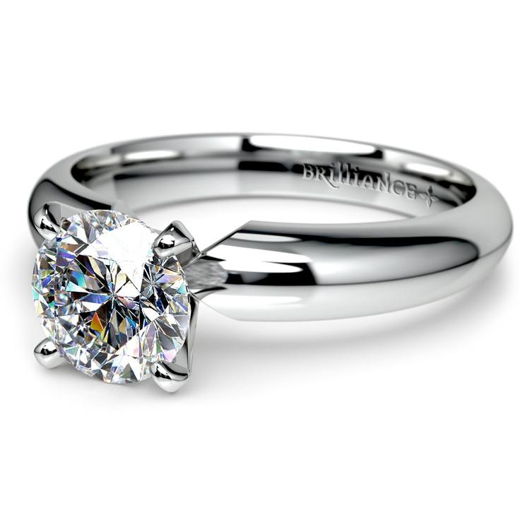 Comfort-Fit Solitaire Engagement Ring in White Gold (4mm)  | 04