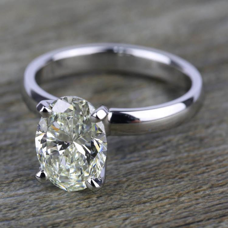 Comfort Fit Solitaire Engagement Ring In White Gold 4mm