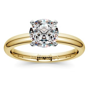Comfort-Fit Solitaire Engagement Ring in Yellow Gold (2mm)