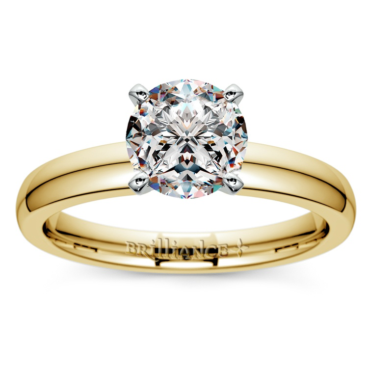Comfort-Fit Solitaire Engagement Ring in Yellow Gold (3mm)  | 01