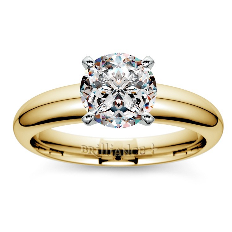 Comfort-Fit Solitaire Engagement Ring in Yellow Gold (4mm)  | 01