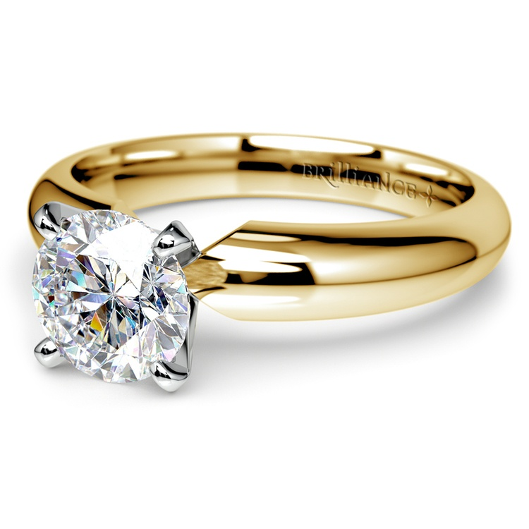 Comfort-Fit Solitaire Engagement Ring in Yellow Gold (4mm)  | 04