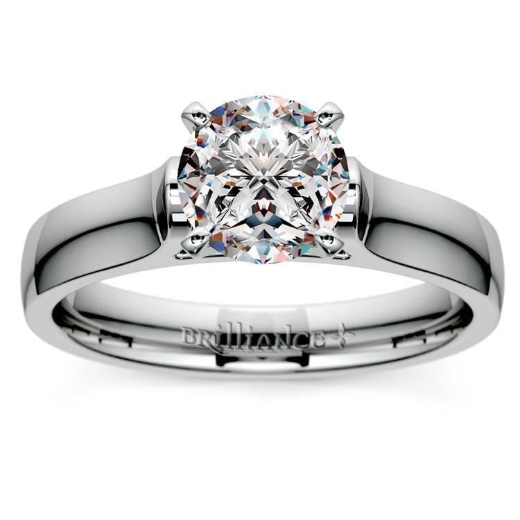 Contour Solitaire Engagement Ring in Platinum | 01