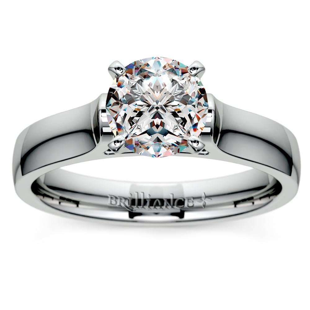 contour solitaire engagement ring in platinum