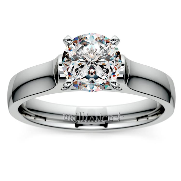 Contour Solitaire Engagement Ring in White Gold | 01
