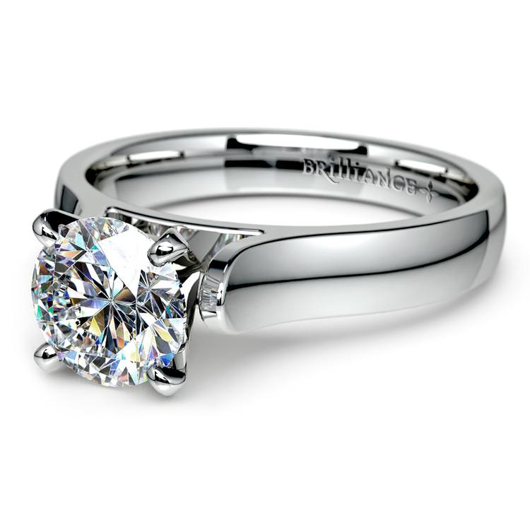 Contour Solitaire Engagement Ring in White Gold | 04