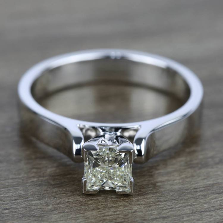 Contour Solitaire Engagement Ring in White Gold | 05