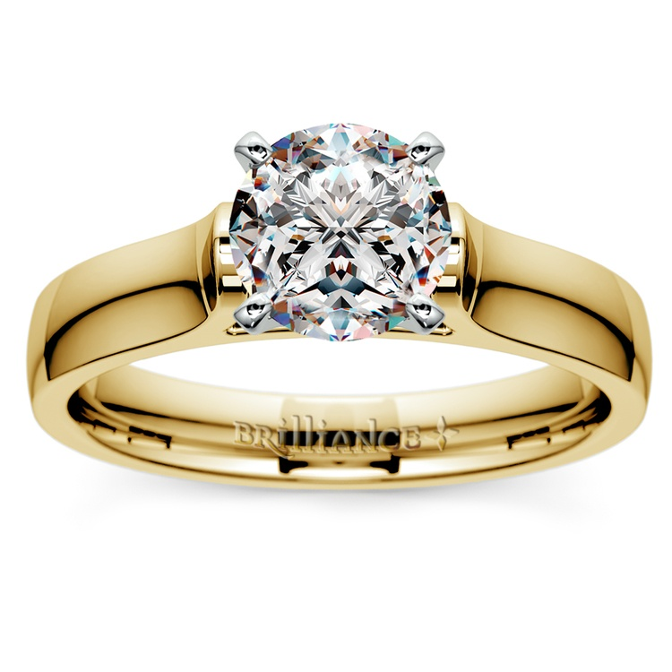 Contour Solitaire Engagement Ring in Yellow Gold | 01
